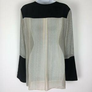 BCBGMAXAZRIA Tops - BCBGMaxazria Large Black Sheer Top Shirt Blouse